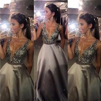 Wholesale Evning Dresses V Neck - Pluning Neck Silver Grey Prom Dresses 2016 with Beaded Sequins Satin Vestidos de Festa A Line Formal Party Evning Gowns