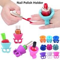 Wholesale Nail Support - Nail Polish Holder Art Display Ring Style for UV Gel Varnish Wearable Silicone Stand Tip Support Manicure mix colors