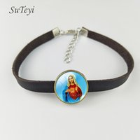 Wholesale Pictures Mary - Fashion Handmade Jesus Women Leather Bracelet Jewelry Marilyn Our Lady of Mary Bracelets Charms Round Glass Art Picture Bangle