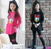 Wholesale Duck Outfits - 2016 Autumn New Girl Sets Cartoon Duck Long Sleeve T-shirts+Legging Girl Fashion Outfits Children Clothing 15008