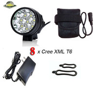 Wholesale Max Lumen Led Light - Free shipping by DHL TNT 8T6 BIke Light   8*Cree XM-L T6 3 Modes Max 12000 Lumen Front Bicycle Light with 6*18650 battery pack
