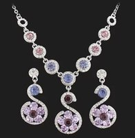 Wholesale Purple Crystal Swan Necklace - diamond crystal birde Crystal swan lady's necklace earings