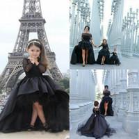 lange kleider für kleinkinder großhandel-Schwarze Hi_Lo Festzug-Kleider für Mädchen-Juwel-lange Hülsen-Blumen-Mädchen-Kleider für Kleinkind-Teenager-formaler Abnutzungs-Partei-Kommunion-Kleider