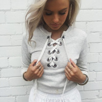 Wholesale Hoodie Chic - 2016081303 Autumn chic lace up sweatshirt Women tops v neck ladies sweatshirt warm hoodies Gray crop top long sleeve girls