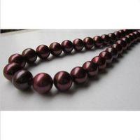 "Wholesale Crimson Chain - NATURAL ROUND 18""10-11MM SOUTH SEA CRIMSON PEARL NECKLACE 14k GOLD CLASP !"