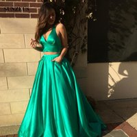 Wholesale Tank Top Prom Dresses - 2 Piece Prom Dress Long Green Satin Party Gowns With Pockets Deep V-neck Tank Top vestido de formatura longo em vestidos de baile