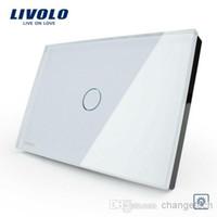 dimmer ışık eve geçer toptan satış-Livolo Ücretsiz nakliye, Beyaz Cam Panel Dimmer Anahtarı, ABD / AU standart, Işık Ev 1 Gang 1 Yollu VL-C301D-81