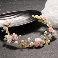 Wholesale Trendy Chain Headbands - Bridal Wedding Handmade Flower Pearl Soft Chain Headdress Bridal Crown Flower Pearl Soft Chain Bridal Tiaras Jewelry Accessories
