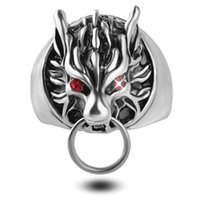 Wholesale fantasy jewelry - Mens Wolf Head Ring Cool Silver Rings For Men Final Fantasy Biker Rings Gothic Red Cystal Eyes Vintage Jewelry New Size 8-11 zj-0903770