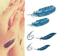 Wholesale Decal Transfer Paper - Set of 5 pcs Wrist Tattoo Decal Feather Temporary Sticker Transfer Hand,Waterproof Temporary Tattoo Stickers Paper,Feather tattoo stickers
