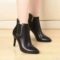 Wholesale Boots Chains For Women - Winter Shoes 2016 Short Boots Woman Waterproof Stiletto Heel Leather Boots Female Fashion Short Tube Martin Boots Ankle Boot for Women