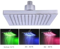 Wholesale led light water temperature - 8-inch Square Temperature Sensitive Rainfall LED Shower Head Power from Water Flow 3 Color Change Shower Head With LED Light