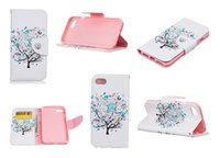 Wholesale Iphone 5g Tpu - Polychrome Tree Flip Cover Leather Case With Stand Wallet Magnet Case For iphone 7 6 6s 6plus 5G 5S Samsung galaxy s7