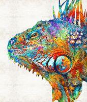 serin sanat baskılar toptan satış-Yüksek kaliteli dekoratif boyama baskı sanatı --- renkli-iguana-art-one-cool-dude