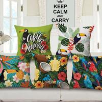 vögel blühen pflanze drucken großhandel-Tropische Pflanze Tier Blumen Vogel Flamingos Eine Seite Printing Wohnkultur Stuhl Sofa Sitz Dekorative Kissenbezug Kissenbezug 45 * 45 cm