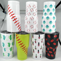 Wholesale Multi Color Lips - Softball Lip Shell Cactus Travel Mug 30OZ Stainless Steel Ball Vacuum Insulated Tumbler Coffee Mug Double Wall Drinking Cups LJJO2795