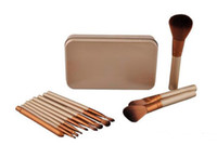 Wholesale wood box kits for sale - HOT Makeup Brushes pieces Professional Makeup Brush set Kit With Iron Box
