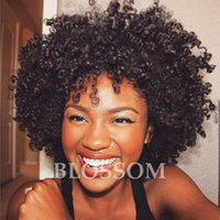 Short Kinky Curly Human Hair Perruques 100% perruque de cheveux humains Kinky perruques bouclés cheveux humains pour les femmes Machine Made Non Lace Bob Wig