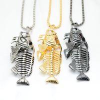 Wholesale Fishbone Chain - Fishing Hook Fish Bone Necklace Silver Gold Stainless Steel Fishbone Pendant Chains Women Men Fashion Jewelry Gift DROP SHIP 162490