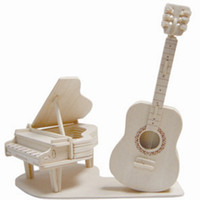 Wholesale Wooden Model Guitar - Free shipping------ In 2016 Year New Product's Piano and Guitar 3 d Wooden Simulation Stereo DIY Assembly Model Educational Toys