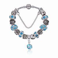 Wholesale Elegant Beads - Elegant Charm Bracelets with Brilliant Crystal Murano Glass Beads & Ruby Dangles Fashion Snake Chain Bangle Bracelets for Women BL168