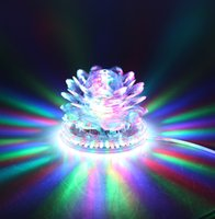 Wholesale Led Lotus Crystal Lamp - Lotus Effect Light Auto Rotating 11W LED RGB Crystal Stage Light 51pcs Bead Lamp for Home Decoration DJ Disco Bar Best Gift L0091