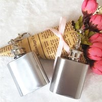 Wholesale Hip Flask Logos - New High quality 1oz stainless steel mini hip flask with keychain,personlized logo is available B0474
