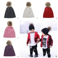 Wholesale Hats For Newborns - Winter Girls Boys Hats Fur Pom Pom Beanies Cotton Cap For Baby Winter Knit Hats With Fur PomPom Thick Warm Hats Free Shipping