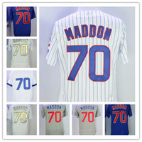 Wholesale Cubs Blue Jersey - Men Cubs Jerseys 70# Joe Maddon Jersey Flexbase Cool Base Home Away White Red Black Grey