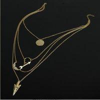 mehrschichtige vergoldung großhandel-Mehrschichtige Halskette Damenmode Halsketten Engelsflügel Pfeilschuppen Einfache Vergoldete Retro Tonnen Kette Halsketten Weihnachtsgeschenk