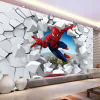 Wholesale country decor wallpaper - Spiderman wallpaper Custom 3D Photo wallpaper for walls Super hero Wall mural Boys Bedroom Living room Nursery School Designer Room decor