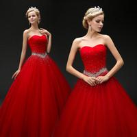 Wholesale Elegant Red Floor Gown - Charming 2017 Best Sale Elegant Red Ball Gown Sweetheart Tulle Pleat Crystal Sashes Plus Size Wedding Dress Floor Length vestido de noiva