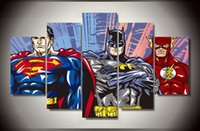 Wholesale Group Oil Paintings - Framed Printed Cartoon Superman Batman Flash justice league Group Painting children's room decor poster picture canvas