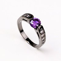 Wholesale Vintage Ring Gold Red - 18K Black Gold Plated Purple White Red Crystal Luxury Bijoux Fashion Cocktail Party Ring Vintage CZ diamond Jewelry For Women