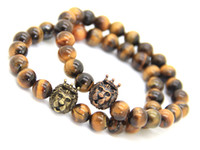 Wholesale Tigers Eye Bead Strand - 2016 New Design Men's Bracelets Wholesale 8mm Natural Tiger Eye Stone Beads with Crown Lion Head Bracelets, Party GiftBracelets