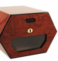 Wholesale Cigar Making - Hexagon Design Cedar and Rosewood Made, Can Hold 50 Count Cigar Humidors With Cigar Hygrometer and Humidifier