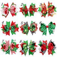 "Wholesale Toddler Headband Clips - Cute 4"" baby Christmas Green Red ribbon Hairclips 13colors Headbands hairbans Xmas hair clips for Toddler Girls 2017 Snowflakes Chervon"