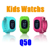 Wholesale Sos Devices - Q50 kids watch Smart Watch GPS Tracker SOS Kids Electronic Fence Two Way Communication Smart Phone App Wearable Devices Finder OLED DHL free