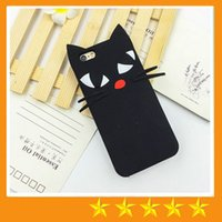 Wholesale Beard Iphone - 3D Cute Lovely Cartoon Black Beard Cat Cases Silicone Soft Case Cover for iPhone 6 6S 7 Plus 5S SE