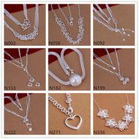 Wholesale Rhinestone Flower Wedding Necklace - Free shipping women's gemstone 925 silver Necklace(with chain) 6 pieces a lot mixed style,bead flower sterling silver Necklace DFMN50