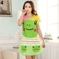Wholesale Nightdresses Cotton - Wholesale-Women's Cartoon Polka Dot Sleepwear Short Sleeve Cute Nightdress BRKU