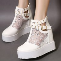 Moda Rivets Buckle White Lace Wedges Sandals Women Wedding Shoes Tamanho 34 a 39