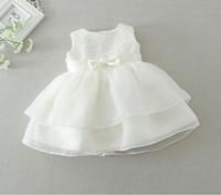 12m elbise toptan satış-Yeni 2016 perakende Yenidoğan bebek kız Vaftiz Elbise Vaftiz Elbisesi çocuk Kızların parti Bebek Prenses düğün yaz elbiseler