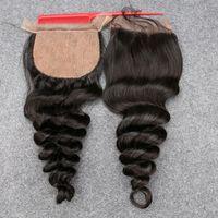 Wholesale Fast Shipping Peruvian Virgin Hair - Slove Fast and Free shipping 3 part Silk Base Closure Bleached Knots Human Hair Grade 8A Virgin Peruvian loose Wave Silk Base Closure