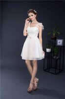 Wholesale Smart Sexy - Smart Champagne Short Prom Dresses Cheap Spaghetti Straps Lace Tulle Mini Formal Cocktail Party Dress In Stock Under 50