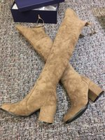 Wholesale Solid Pull Overs - The Tieland 2017 Hot Sell SW brand Boots over the knee block heel suede leather slim boots elstic Pull On Women Thigh- High boots