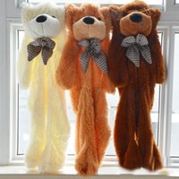 Wholesale Girl Baby Teddy Bears - Wholesale- Free shipping 160cm 1.6m big pink unstuffed teddy bear skins shell brown animals kid baby plush soft empty toys girl gifts
