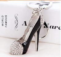 Wholesale Key Chains High Heel Shoes - High heel shoes key chains rhinestone car key rings silver plated women bag charms keychains keyrings fashion crystal key holder