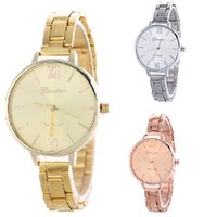 Wholesale Chronograph Gold Watch For Women - Women steel watches Alloy luxury watch Thin strap Gold silver quartz watch Geneva fashion wrist watches for women 3 colors