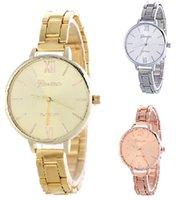 Wholesale Thin Straps - Women steel watches Alloy luxury watch Thin strap Gold silver quartz watch Geneva fashion wrist watches for women 3 colors